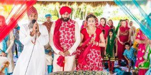 sikh priest outside gurdwara wedding, destination Sikh Priest